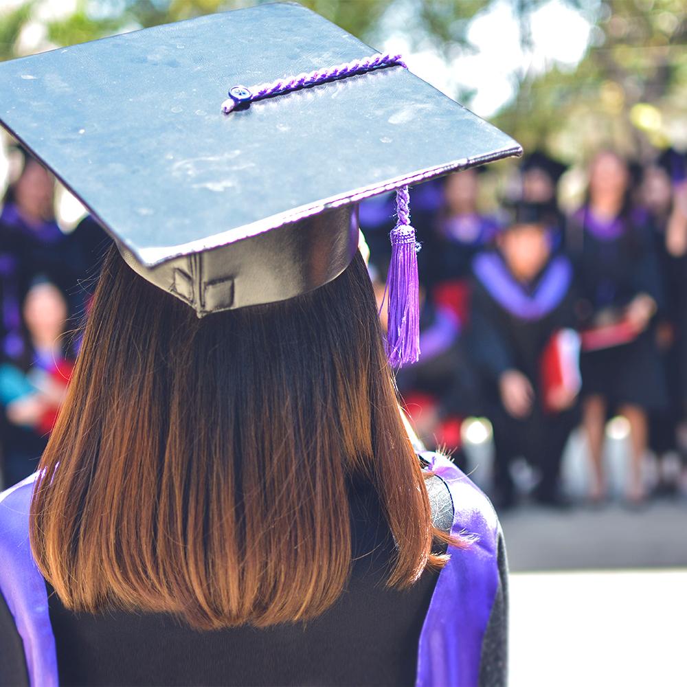female student graduating from university