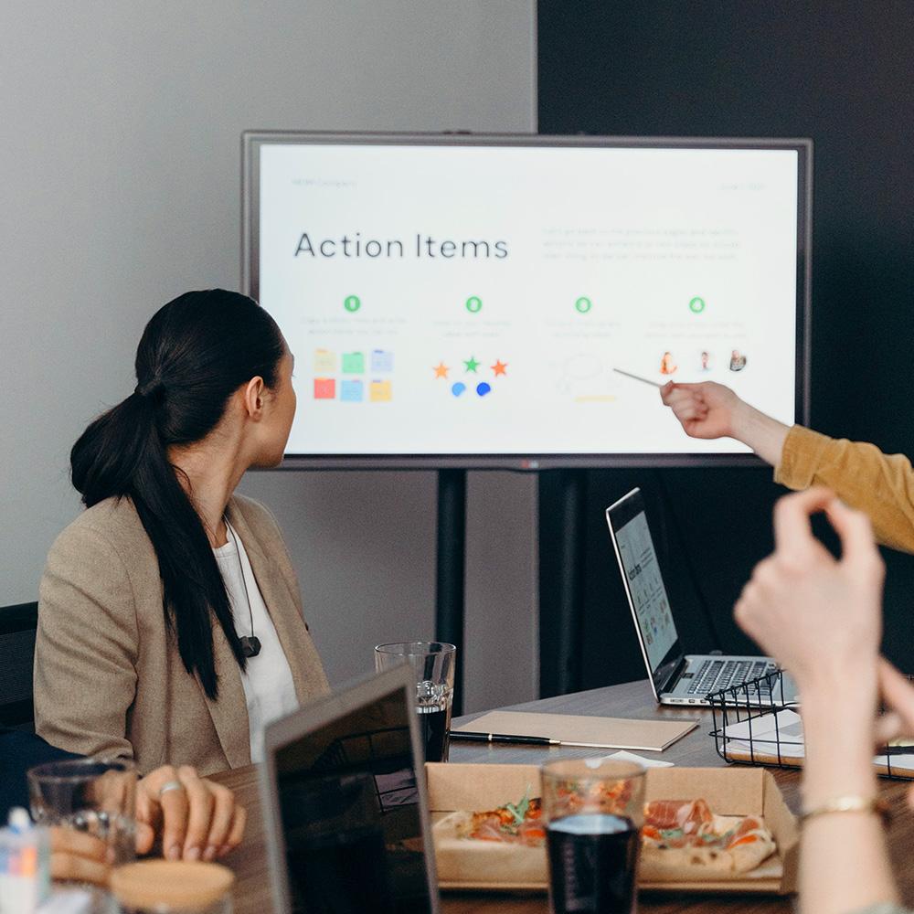 team in strategy presentation